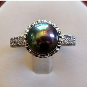 Jewelry - 10mm Black Rainbow Akoya Pearl Ring As 7.5, 10